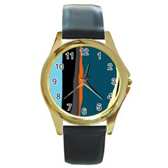 Colorful lines  Round Gold Metal Watch