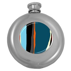 Colorful lines  Round Hip Flask (5 oz)