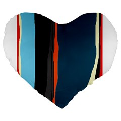 Colorful lines  Large 19  Premium Heart Shape Cushions