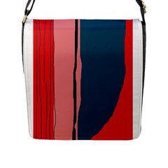 Decorative lines Flap Messenger Bag (L)