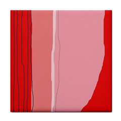 Red and pink lines Tile Coasters