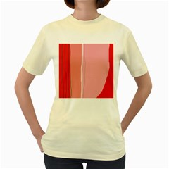 Red and pink lines Women s Yellow T-Shirt