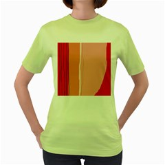 Red and pink lines Women s Green T-Shirt