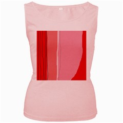 Red and pink lines Women s Pink Tank Top