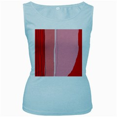 Red and pink lines Women s Baby Blue Tank Top
