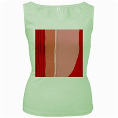 Red and pink lines Women s Green Tank Top