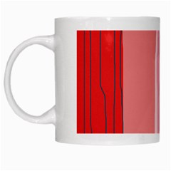 Red and pink lines White Mugs
