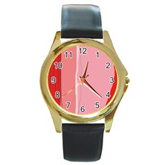 Red and pink lines Round Gold Metal Watch