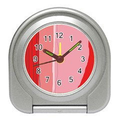 Red and pink lines Travel Alarm Clocks