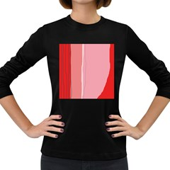Red and pink lines Women s Long Sleeve Dark T-Shirts