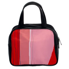 Red and pink lines Classic Handbags (2 Sides)