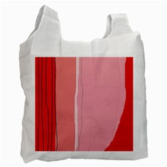 Red and pink lines Recycle Bag (One Side)