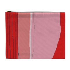 Red and pink lines Cosmetic Bag (XL)