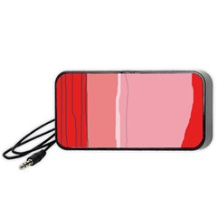Red and pink lines Portable Speaker (Black)