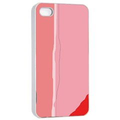 Red and pink lines Apple iPhone 4/4s Seamless Case (White)