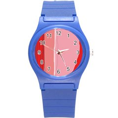 Red and pink lines Round Plastic Sport Watch (S)