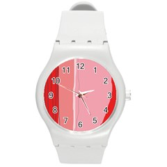 Red and pink lines Round Plastic Sport Watch (M)