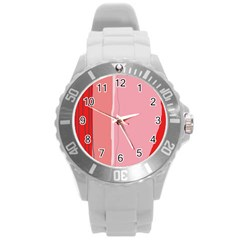 Red and pink lines Round Plastic Sport Watch (L)