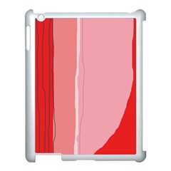 Red and pink lines Apple iPad 3/4 Case (White)