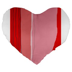 Red and pink lines Large 19  Premium Heart Shape Cushions