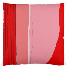 Red and pink lines Large Flano Cushion Case (Two Sides)