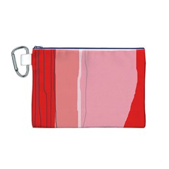 Red and pink lines Canvas Cosmetic Bag (M)