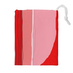 Red and pink lines Drawstring Pouches (Extra Large)