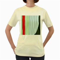 Decorative lines Women s Yellow T-Shirt