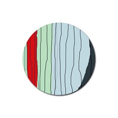 Decorative lines Rubber Round Coaster (4 pack)