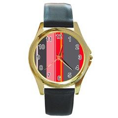Optimistic lines Round Gold Metal Watch