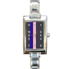 Purple, pink and gray lines Rectangle Italian Charm Watch