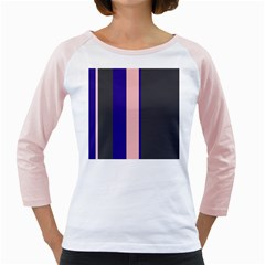Purple, pink and gray lines Girly Raglans