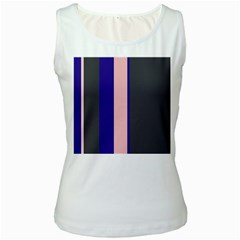 Purple, pink and gray lines Women s White Tank Top