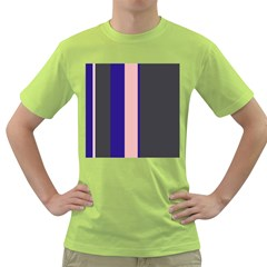 Purple, pink and gray lines Green T-Shirt