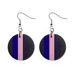 Purple, pink and gray lines Mini Button Earrings