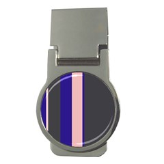 Purple, pink and gray lines Money Clips (Round)