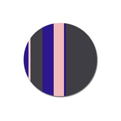 Purple, pink and gray lines Magnet 3  (Round)