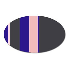 Purple, pink and gray lines Oval Magnet