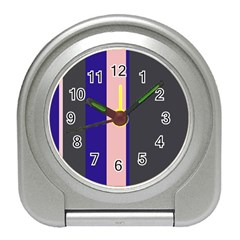 Purple, pink and gray lines Travel Alarm Clocks