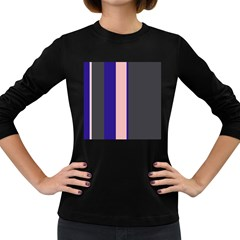 Purple, pink and gray lines Women s Long Sleeve Dark T-Shirts