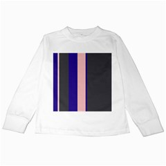 Purple, pink and gray lines Kids Long Sleeve T-Shirts