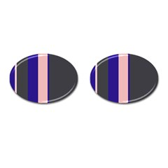 Purple, pink and gray lines Cufflinks (Oval)