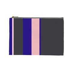 Purple, pink and gray lines Cosmetic Bag (Large)