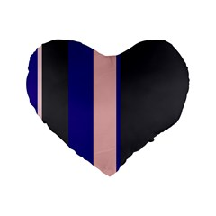 Purple, pink and gray lines Standard 16  Premium Flano Heart Shape Cushions