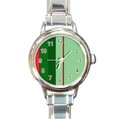 Green and red design Round Italian Charm Watch