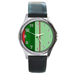 Green and red design Round Metal Watch