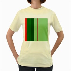 Green and red design Women s Yellow T-Shirt