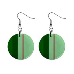 Green and red design Mini Button Earrings