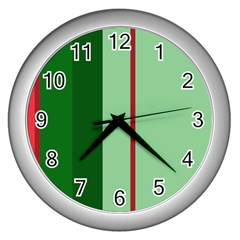 Green and red design Wall Clocks (Silver)