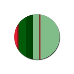 Green and red design Rubber Round Coaster (4 pack)